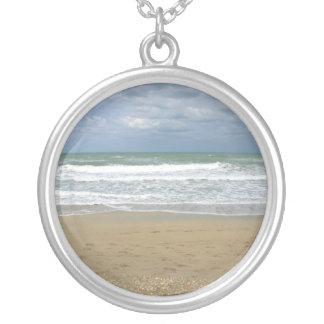 Ocean Sand Sky Faded background Round Pendant Necklace