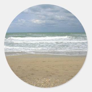Ocean Sand Sky Faded background Round Sticker