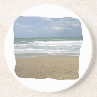 Ocean Sand Sky Faded background squared Drink Coasters