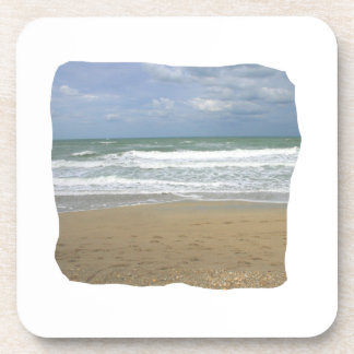 Ocean Sand Sky Faded background squared Beverage Coasters