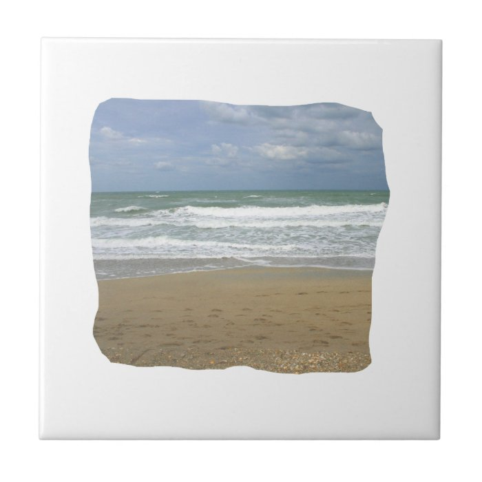 Ocean Sand Sky Faded background squared Tile