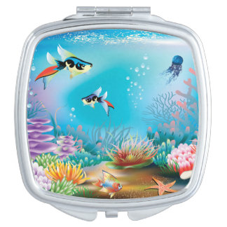 Ocean Scene Three Compact Mirrors