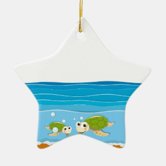 Ocean scene with lighthouse and animals ceramic ornament