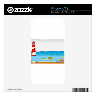 Ocean scene with lighthouse and animals decal for the iPhone 4S