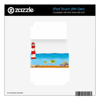 Ocean scene with lighthouse and animals decals for iPod touch 4G