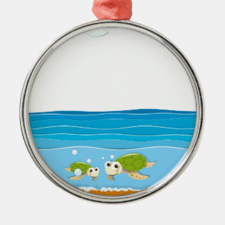Ocean scene with lighthouse and animals metal ornament