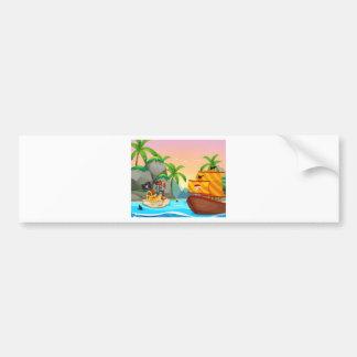 Ocean scene with pirate and treassure bumper sticker