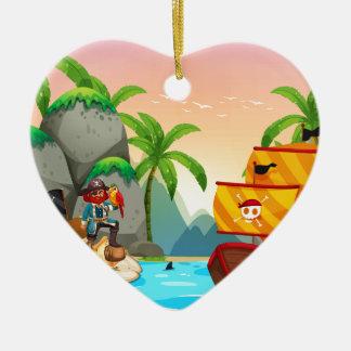 Ocean scene with pirate and treassure ceramic ornament