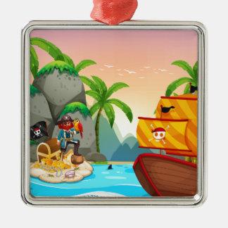 Ocean scene with pirate and treassure metal ornament