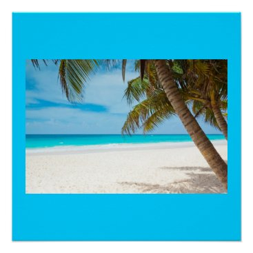 Beach Themed Ocean Sea Beach Palm Sand Nature Name Personalize Poster