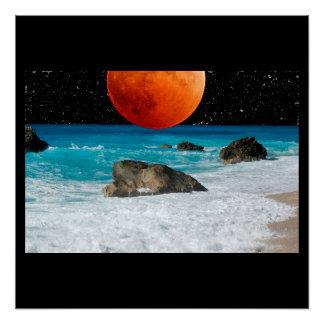 Ocean Sea Beach Rock Sand Moon Stars Personalize Poster