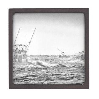 Ocean Sea Black White Fishing Boat Art Gift Box