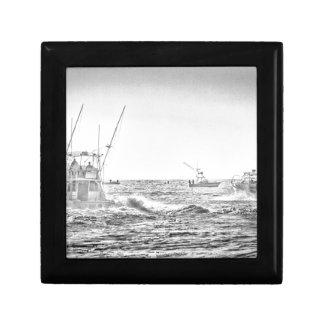 Ocean Sea Black White Fishing Boat Art Jewelry Box