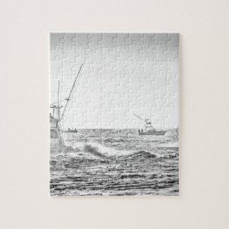 Ocean Sea Black White Fishing Boat Art Jigsaw Puzzle