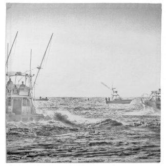 Ocean Sea Black White Fishing Boat Art Napkin