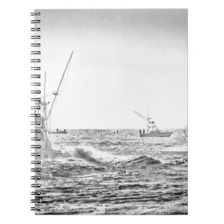 Ocean Sea Black White Fishing Boat Art Notebook