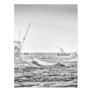 Ocean Sea Black White Fishing Boat Art Postcard