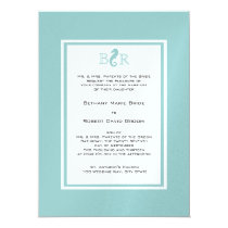 Ocean Sea horse Monogram Wedding Card