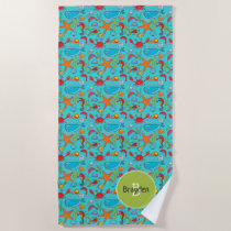 Ocean Sea Life Cute Fish Pattern Personalized Kids Beach Towel