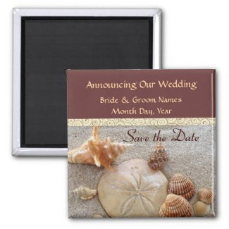 Ocean Sea Shells Save the Date Magnet