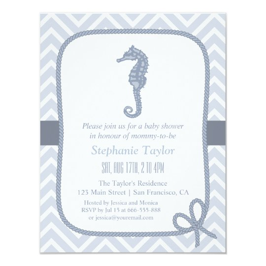 Ocean Seahorse Nautical Baby Shower Invitations Zazzle