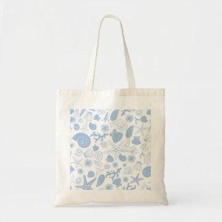 Ocean Seashell Light Blue Nautical Seashore Beach Bags