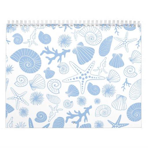 Ocean Seashell Light Blue Nautical Seashore Beach Calendar