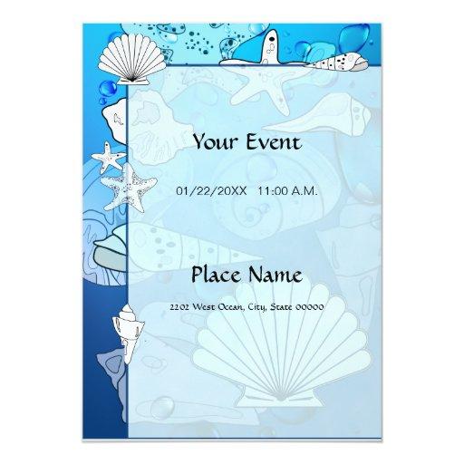 Ocean Seashells Aquatic Invitation
