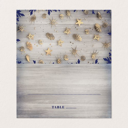 Ocean Seashells Gold and Navy Nautical Place Card