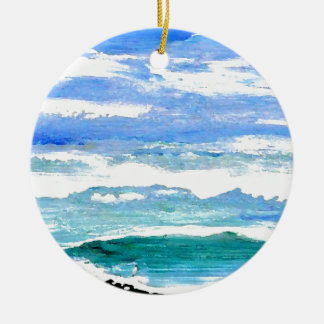 Ocean Serenity Sea Waves Oceanscape Decor Gifts 2 Ceramic Ornament