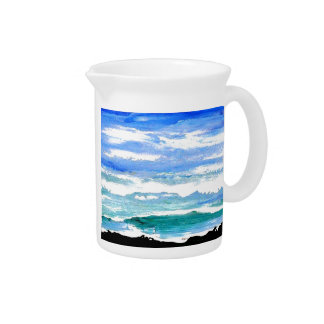 Ocean Serenity Sea Waves Oceanscape Decor Gifts Beverage Pitchers