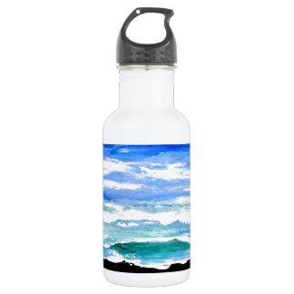 Ocean Serenity Sea Waves Oceanscape Decor Stainless Steel Water Bottle
