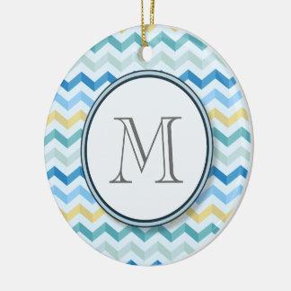 Ocean Shore Chevron Stripes with Round Monogram Ceramic Ornament