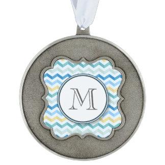 Ocean Shore Chevron Stripes with Round Monogram Ornament