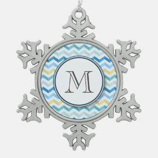 Ocean Shore Chevron Stripes with Round Monogram Snowflake Pewter Christmas Ornament