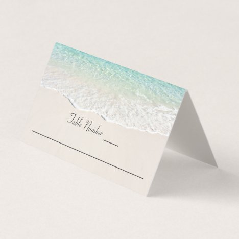 Ocean Shoreline Beach Reception Place Card