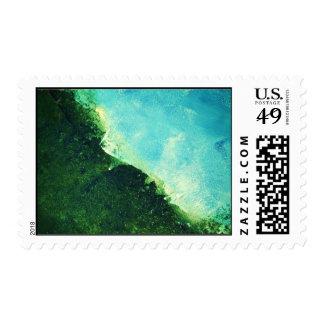 Ocean shoreline peeling paint on canvas postage