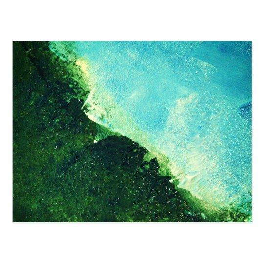 Ocean shoreline peeling paint on canvas postcard
