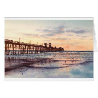OCEAN SIDE PIER SUNSET GREETING CARDS
