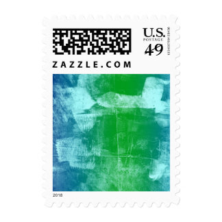 Ocean Sky Blue Green Abstract Stamp