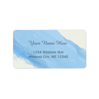 Ocean Sky blue watercolor  brush strokes modern Label