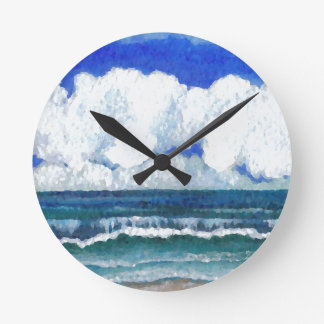 Ocean Sonata Sea Beach Summertime Art Round Clock
