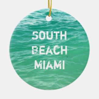 Ocean, South Beach Miami Ceramic Ornament