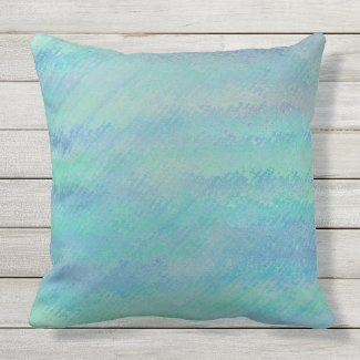 Ocean Splash Blue Green Outdoor Pillow 20x20