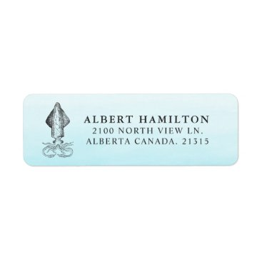 Beach Themed Ocean Squid | Personalized Return Address Label