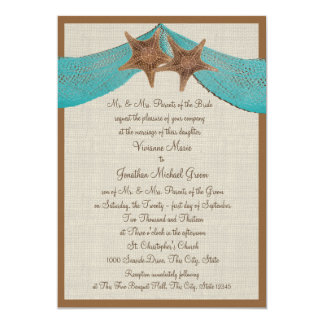 Ocean Starfish and Net Wedding 5x7 Paper Invitation Card