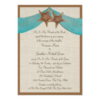 Ocean Starfish and Net Wedding Card