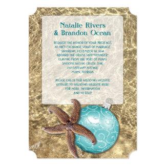 Ocean Starfish Tropical Christmas Wedding Invitation