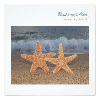 "Ocean Starfish Wedding Invitation 5.25"" Square Invitation Card"