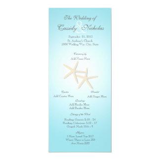 "Ocean Starfish Wedding Program Card 4"" X 9.25"" Invitation Card"